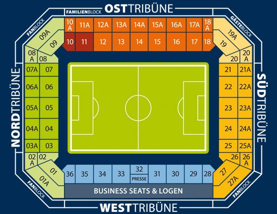 Sitzplan, Stadionplan der DKB-Arena in Rostock – Sitzplan